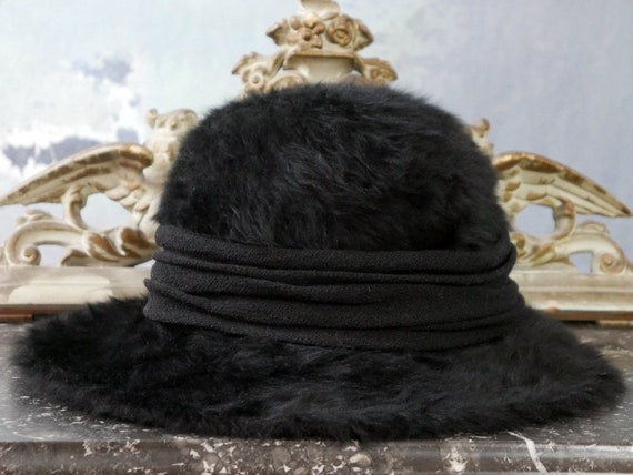 Black Faux Fur Bucket Hat, 1960s Austrian Vintage