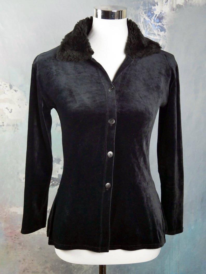 Black Long-Sleeve Shirt Blouse w Faux Fur Collar Size 4 US French Vintage Velour Top Size 8 UK
