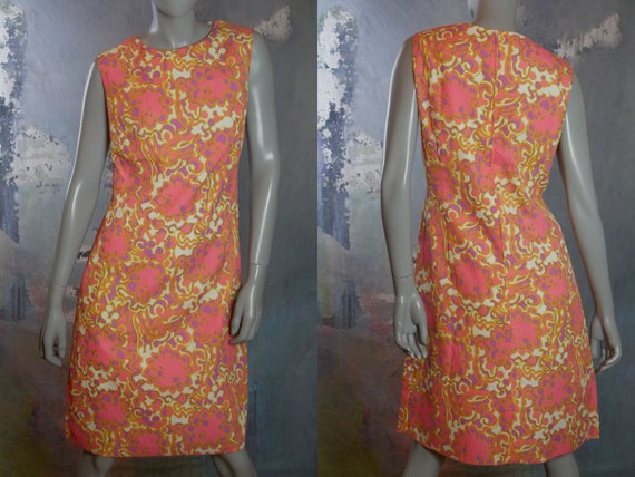 Fair Condition Vintage 1960s Custom Made Lightweight Short Sleeve Summer Dress in Pink and Cream Abstract Pattern-Approx Size 10-12