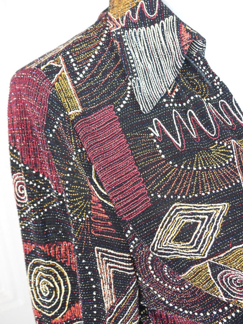 b9d3a4bbd87 Joseph Ribkoff Beaded Blouse Tie Waist Top w Red White Gold