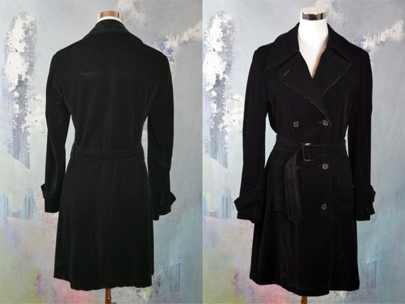 1990s Black Corduroy Trench Coat, Italian Vintage Double Breasted Belted Cotton Cord Overcoat: Size 10 Us, 12 Uk by Etsy