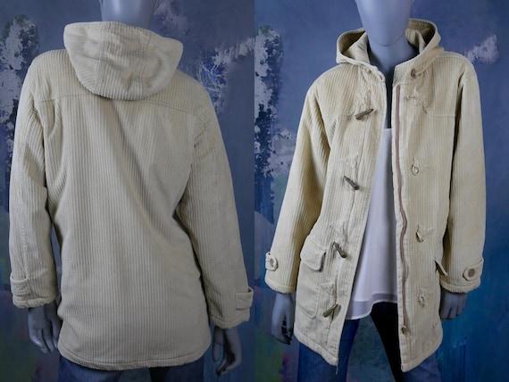 Cream Corduroy Duffel Coat, 1990s Cotton Cord Coat