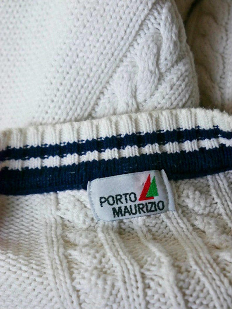 1618 UK Cable Knit Pullover Sweater: Size 1214 US Italian Vintage Nautical Sweater White Navy Blue Cotton Knit V-Neck Sailor Jumper