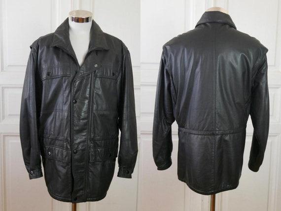 1980 zwart lederen jas Oost Europese Vintage mannen echt | Etsy