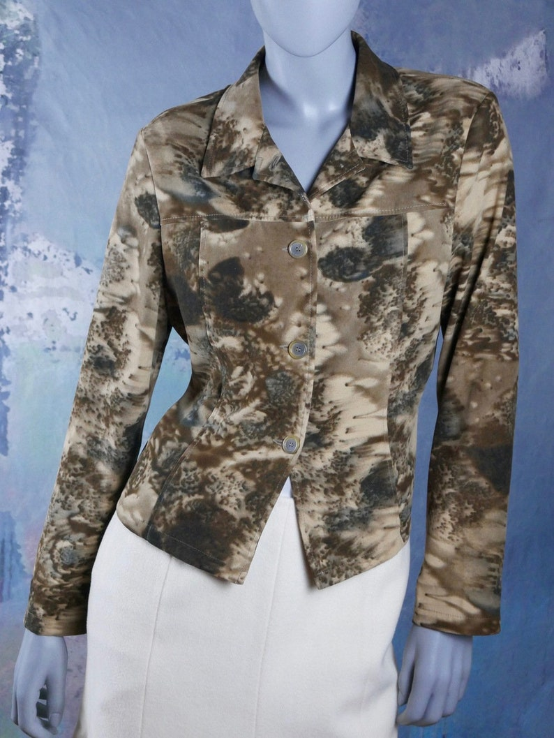 European Vintage Ann Miller Collection Top 12 UK Size 8 US Brown /& Beige Abstract Floral Fitted Blazer Shirt