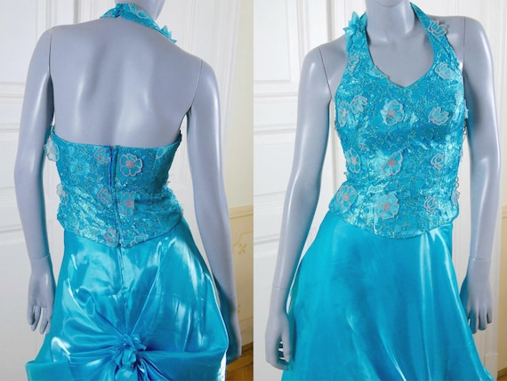 Turquoise Evening Gown Italian Vintage Princess Diana-Style   Etsy a38d510f1d