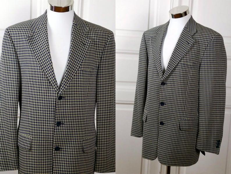 b471f4a078f0 European Vintage Check Blazer Navy Blue & Golden Beige | Etsy