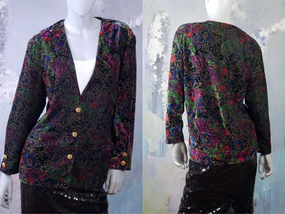 Velvet Floral Blazer, Black Purple Blue Green & Re