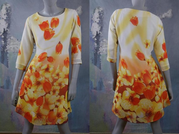 1990s Italian Floral Dress, Yellow White & Orange