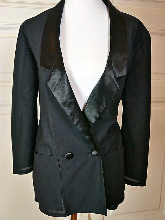 British Vintage Sheer Black Tuxedo Jacket Women S Size 10 Etsy