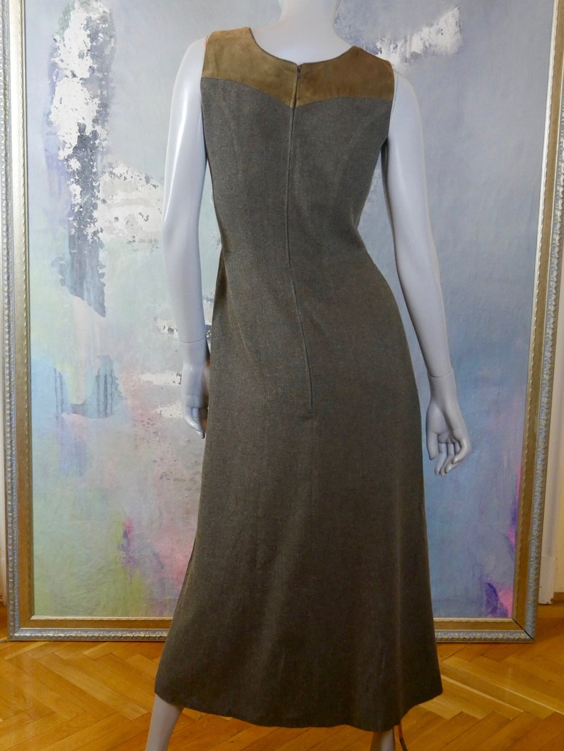12 UK 1990s Austrian Vintage Trachten Dress Size 8 US Sleeveless Gray Midi Dress with Brown Faux Suede Yoke with Floral Stitching