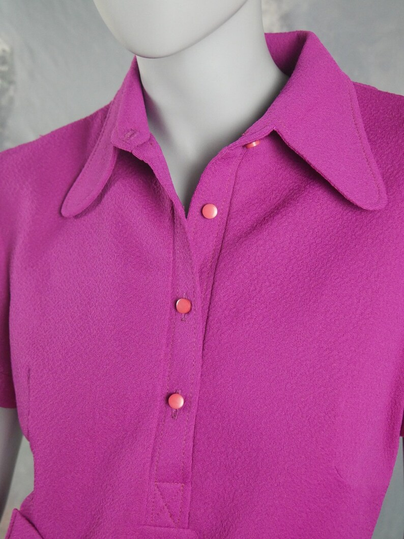 1970s Shirt Dress Size 10 US Size 14 UK Magenta Polyester Short-Sleeve Above-the Knee Mad Men Dress