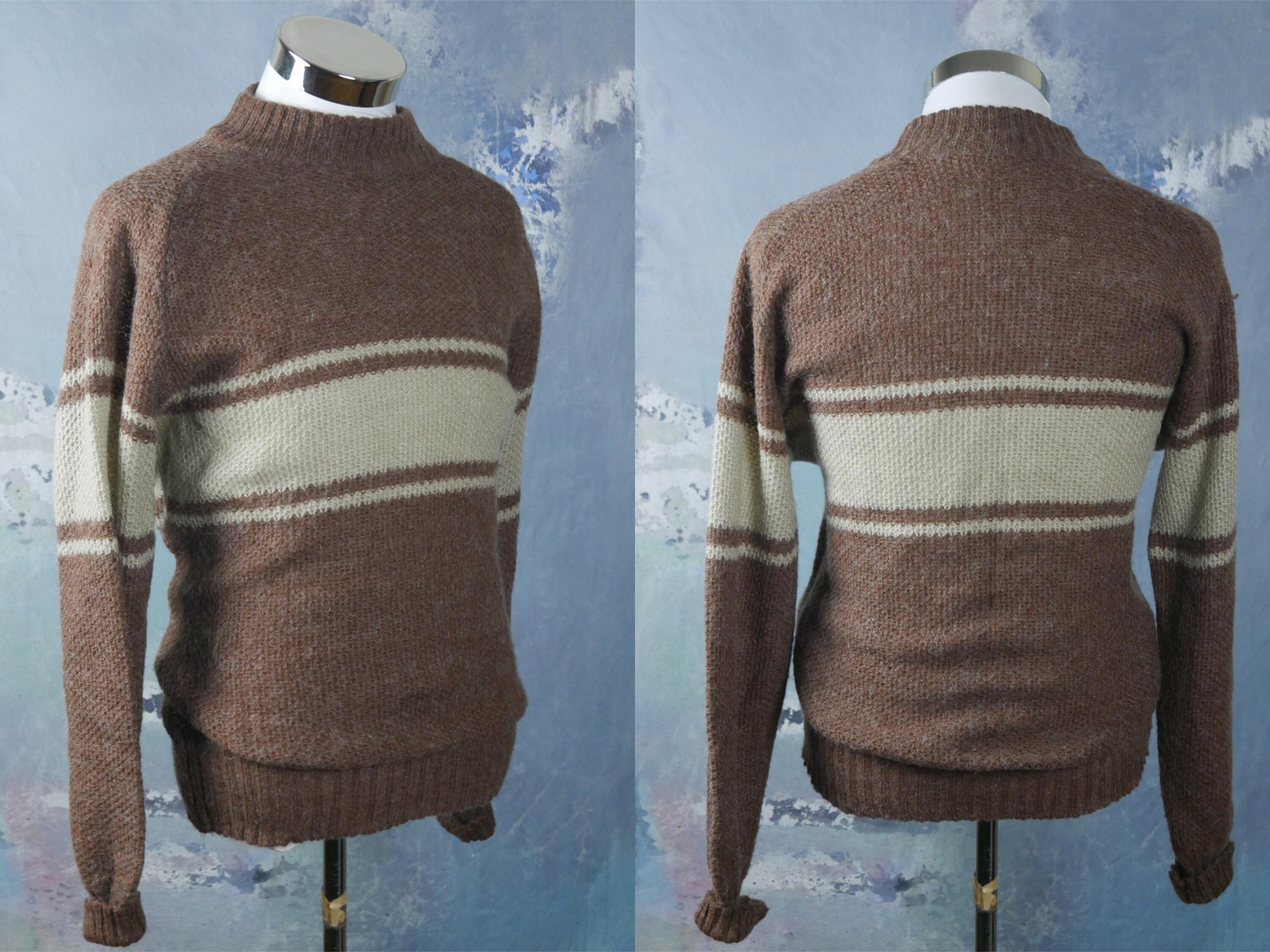 42b67c29e9 1970s Wool Sweater Brown   Beige Finnish Vintage Knit