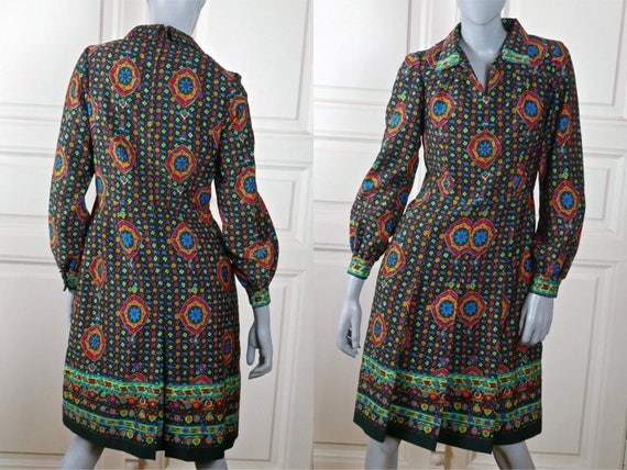 1970s Abstract Floral Dress, Knee-Length Hungarian