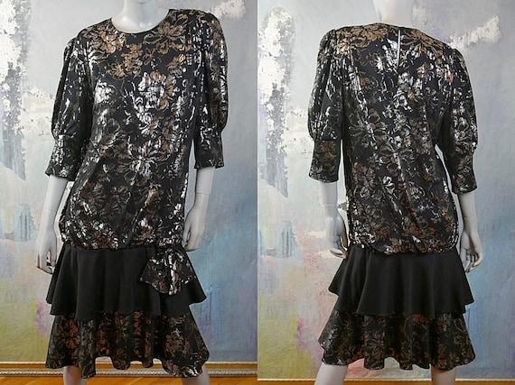 1980s Black and Silver Metallic Dress, European Vi