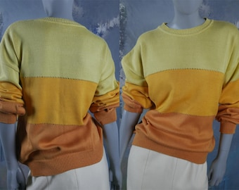 Color Block Sweater, Italian Vintage Byblos Knit Crewneck Pullover, Yellow Gold Orange Jumper: Size 16/18 US, Size 20/22 UK