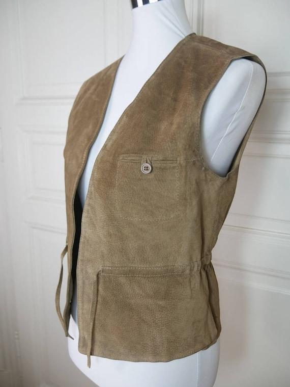 French Vintage Tan Suede Vest Women's, Light Brown