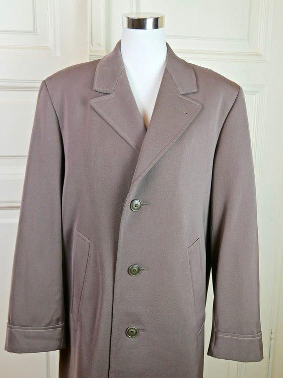 Dutch Vintage Overcoat Men's, Pastel Gray Overcoat, Men's Long Coat, Wool Blend Overcoat, European Vintage Overcoat: Size XL (44 US)