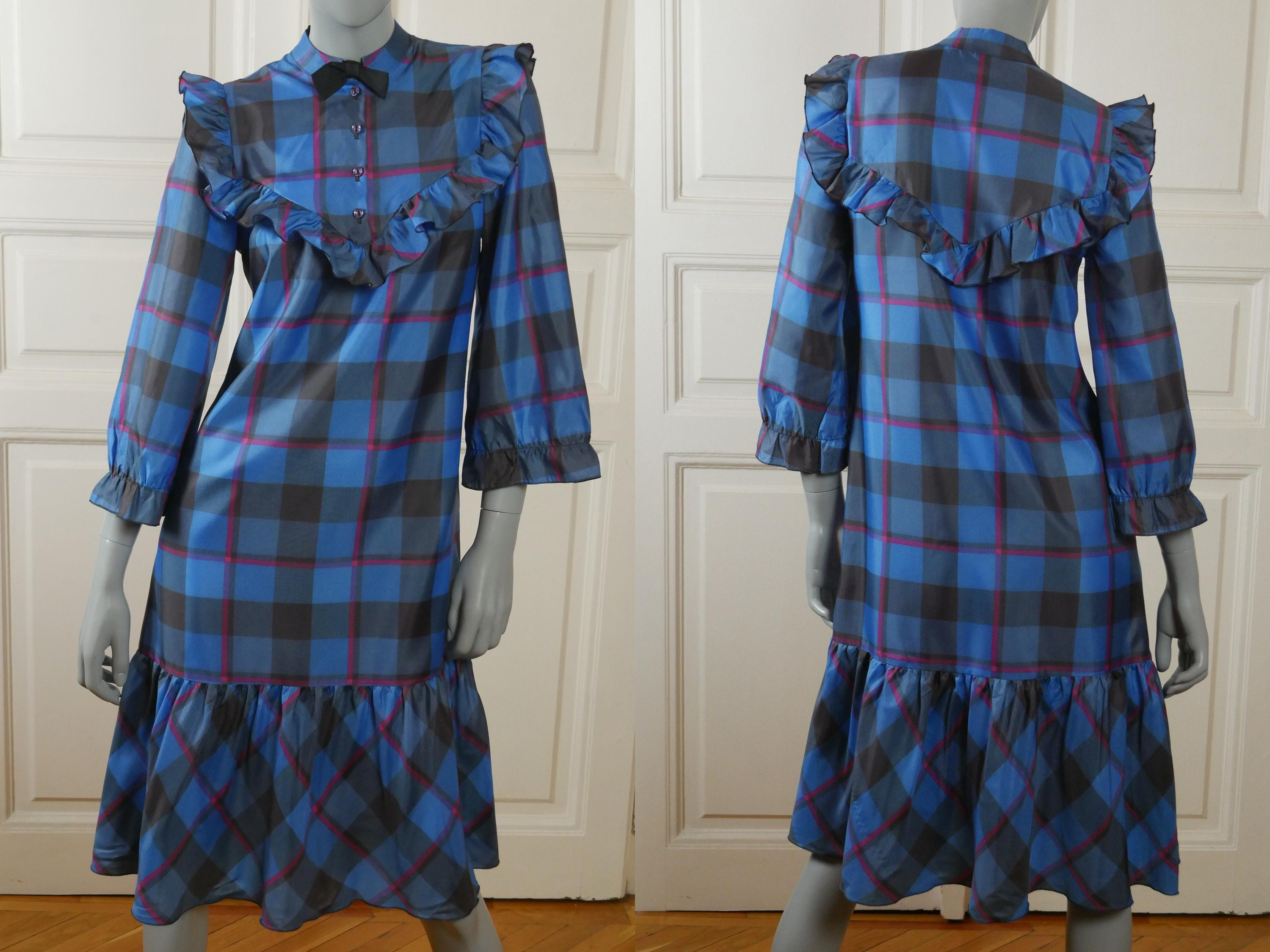 80s Dresses | Casual to Party Dresses 1980S Prairie Dress, European Vintage Turquoise Blue Black  Pink Plaid Knee Length Tartan Peasant Made in Finland Size 6 Us, 10 Uk $76.21 AT vintagedancer.com