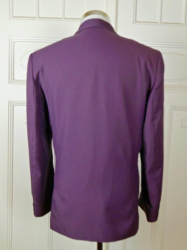 European Vintage 1980s Singled-Breasted Silk-Blend Purple Dinner Jacket Purple Tuxedo Jacket Size 38 USUK Smoking Jacket