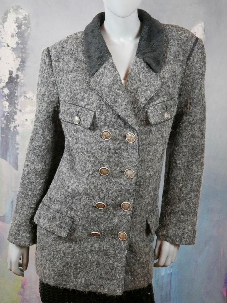 Size 14 US Austrian Vintage Trachten Double-Breasted Jacket 18 UK Gray Alpaca Jacket