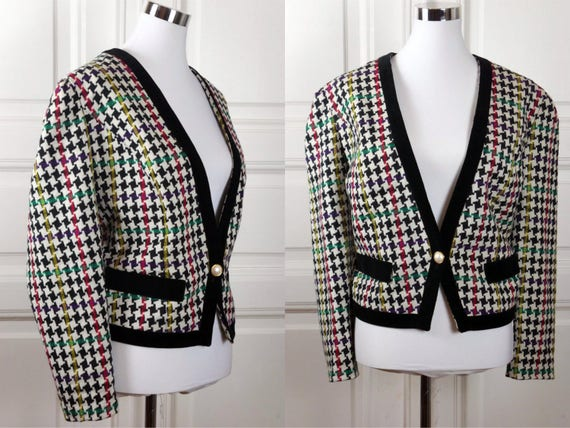 German Vintage Houndstooth Blazer, 1980s Black Whi