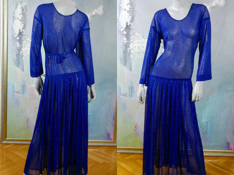 0a0d5974486 1970s Sheer Blue Evening Dress Long Sparkling Diana Ross