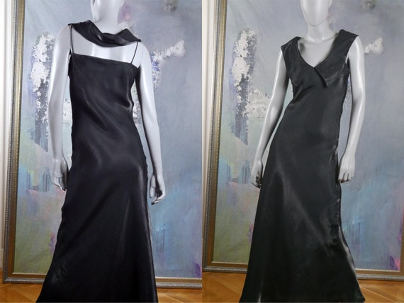 Satin Evening Dress, French Vintage Sleeveless Lon