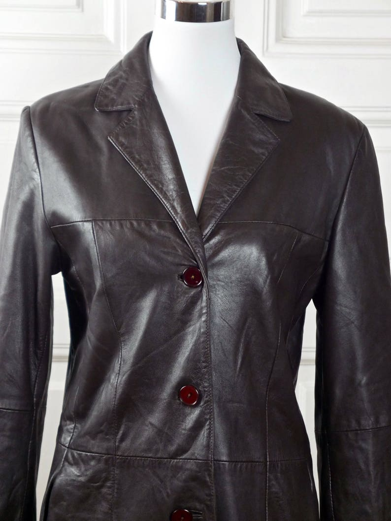 aa70d1a3f1a9e Women's Leather Jacket Italian Vintage Dark Chocolate | Etsy