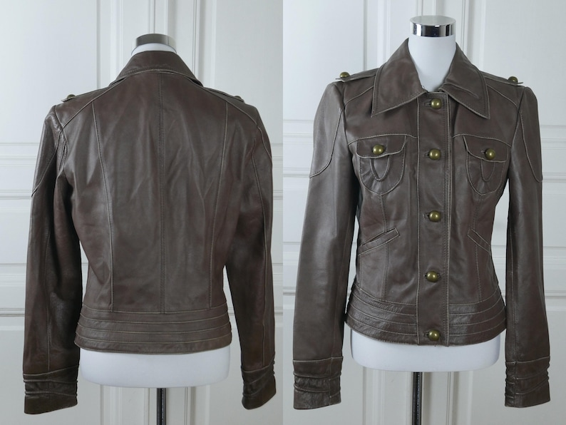 Veste faux cuir marron