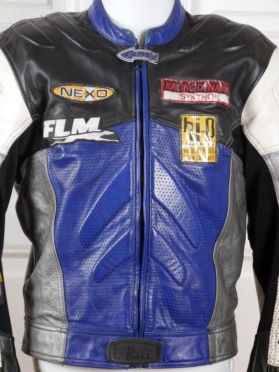 Medium38 Motorrad Blau Carbon Schultern RückseiteGröße Vintage LederjackeSchwarz Weiß W Polsterung Verstärkte Silber Und Usuk Auf Ellenbogen zLUpGqSMV