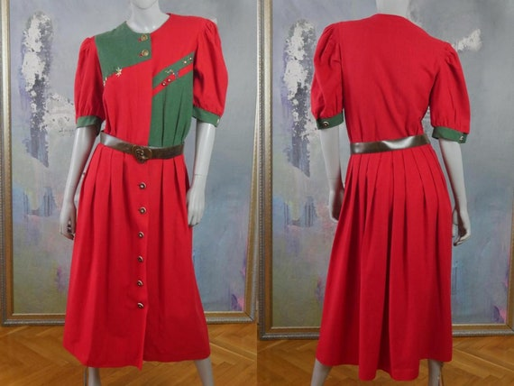 Rustic Country Dress, Red & Green Linen Cotton Ble