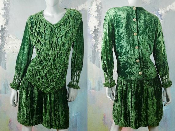 Green Crushed Velvet Dress, 1990s European Vintage