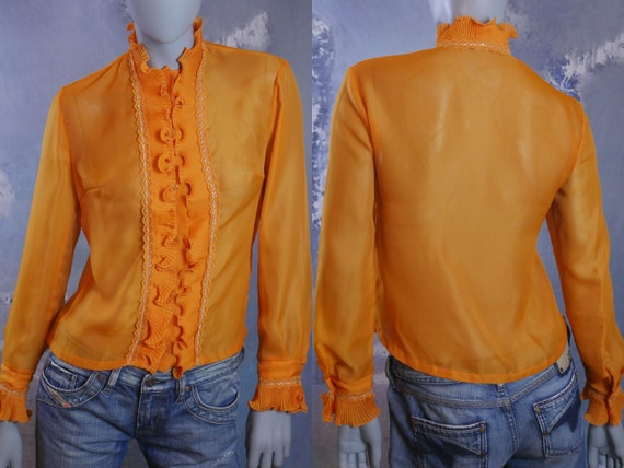 1980s Sheer Orange Ruffle Top, European Vintage El