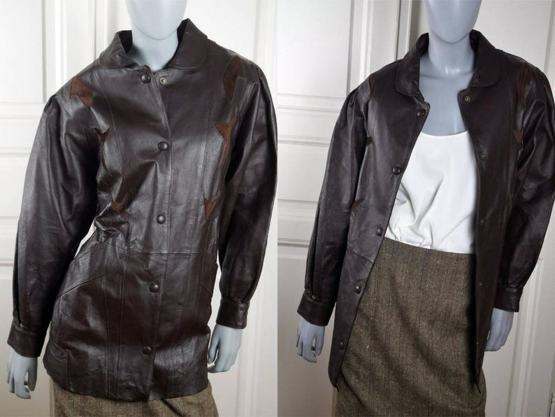 469d7e56b Brown Leather Jacket, Women's Vintage Leather Jacket, German Three-Quarter  Length Leather Coat, 1980s Leather Jacket: Size 12 US, Size 16 UK