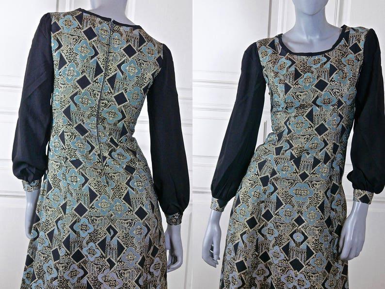 d4dd3b317d8fe Italian Vintage Maxi Evening Dress 1960s Black Turquoise