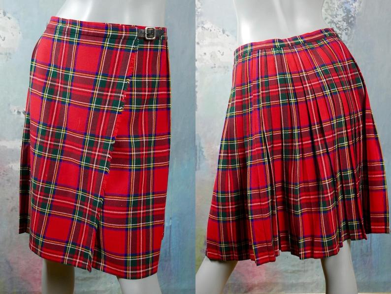 6951f0c2b0 Scotch Plaid Kilt Skirt British Vintage Red Green Yellow & | Etsy