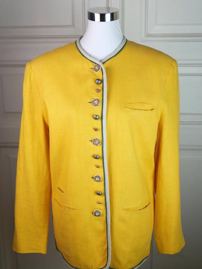 German Vintage Linen Blazer 22 UK Cream-Colored Natural Fiber Jacket w Faux Antler Buttons Traditional Trachten Smart Blazer: Size 18 US