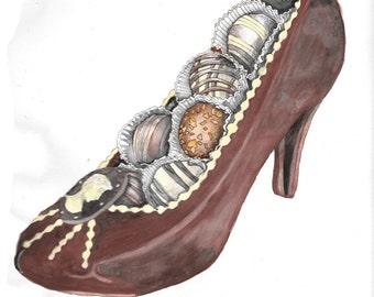 Chocolate  heel shoe watercolor hand drawn illustration