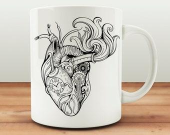Steampunk Heart Mug, Anatomical Heart Cup, Steampunk Lover Gift, Clockwork Heart Anatomy, Clockwork Heart Gift, Birthday Mug, Anniversary