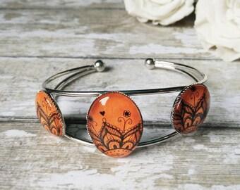 Adjustable bangle Boho orange bangle bracelet Gift for her Statement bracelet Lace bracelet Orange flower jewelry Gift for mothers day