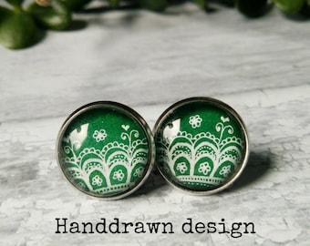 Green earrings studs bridesmaids, Hypoallergenic earrings green statement earrings for her, Lace earrings green studs, Unique gift for women