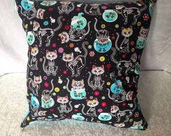 Handmade Day Of The Dead Cat 16 Inch Cushion Cover