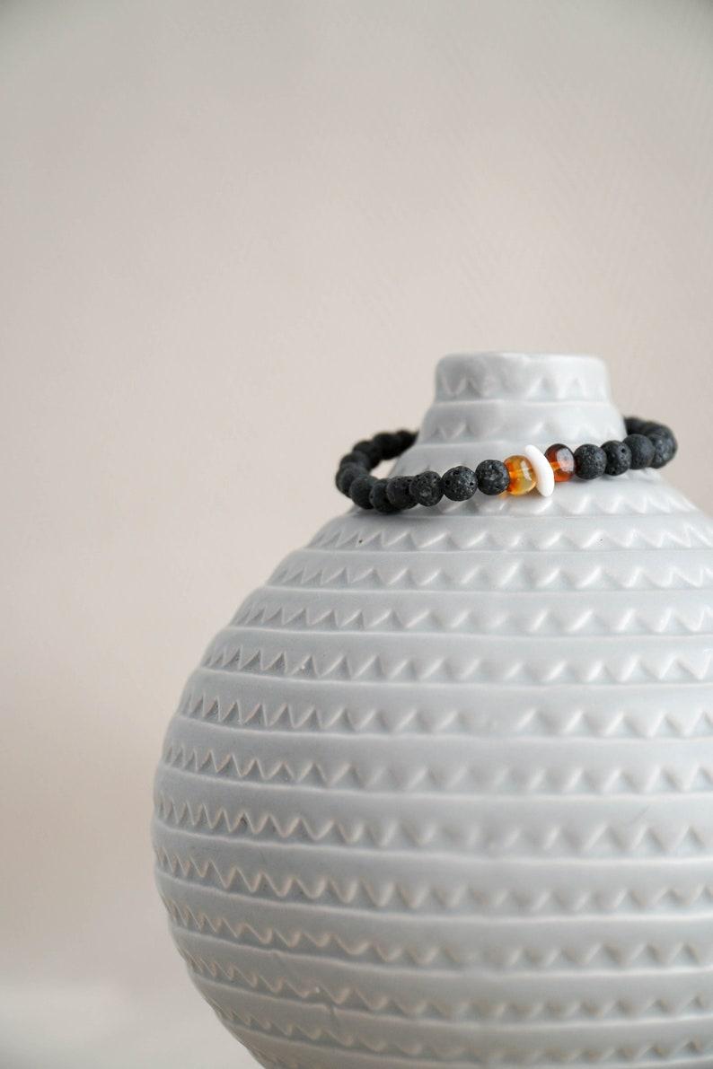 Handmade Bracelet Amber and Shell Bracelet Natural Lava and Shell Amber Bracelet from Canary Islands Ocean Style Natural Shell bracelet