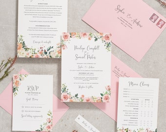 Fiona Arch Dusty Rose Invitation Suite Template Nude Blush Wedding Invitation Suite Template Arch Inspired Invitation Template