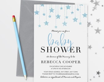 Star Baby Shower Invitation Baby Boy Shower Invitation Baby Shower  Invitation Boy  43-02 8efe461f27