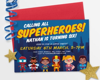 superhero invitation etsy