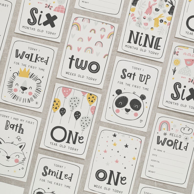 Pregnancy Gift For Mum To Be Baby Milestone Cards Baby Shower Gift New Baby Girl Animal Milestone Cards Gift for Parents To Be