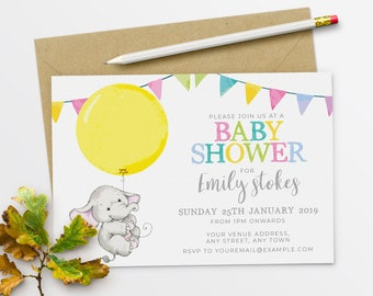 Gender Neutral Baby Shower Invitations Elephant Baby Shower Invitation Elephant #36-02