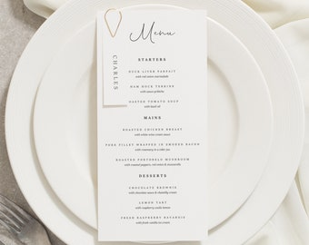 Simple Menu With Place Card, Minimal Wedding Menus And Name Card, Modern Printed Menu Cards For Reception Party 'Hailey'